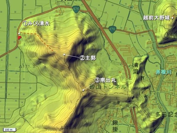 戌山城地形図
