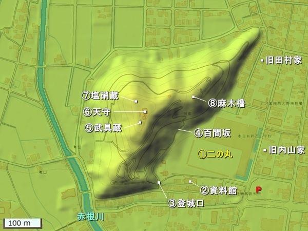 越前大野城地形図