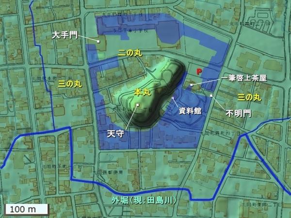 丸岡城地形図