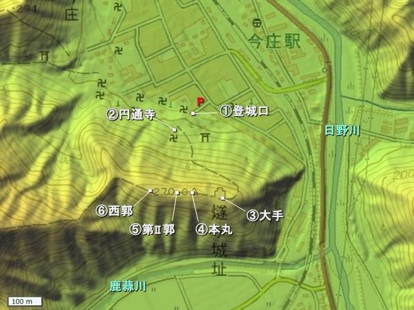 燧ヶ城地形図