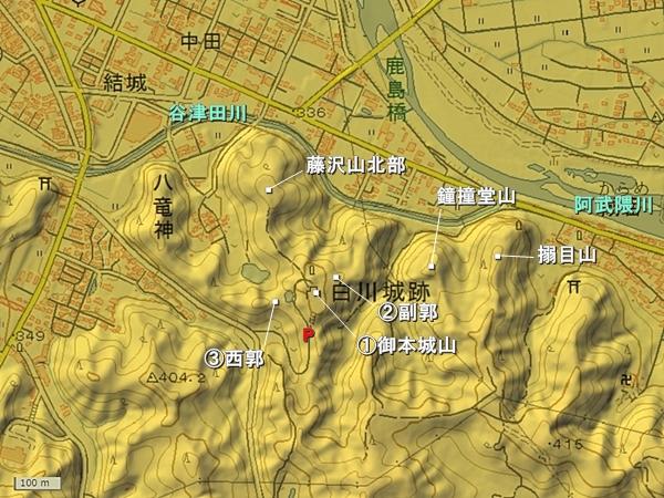 白川城地形図