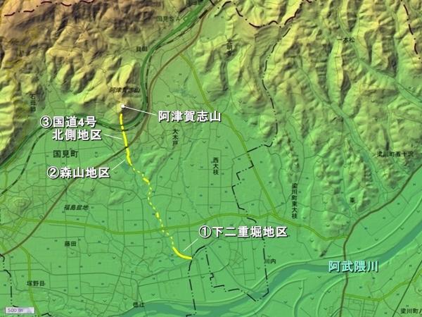 阿津賀志山防塁地形図