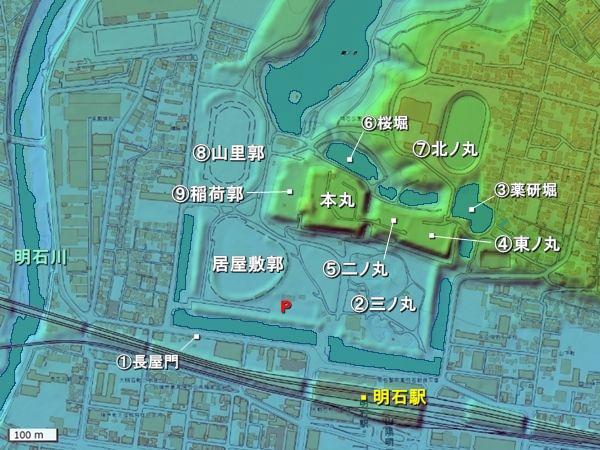 明石城地形図
