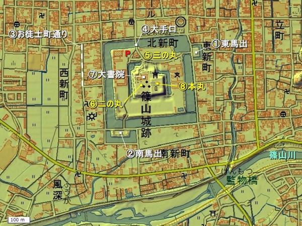 篠山城地形図