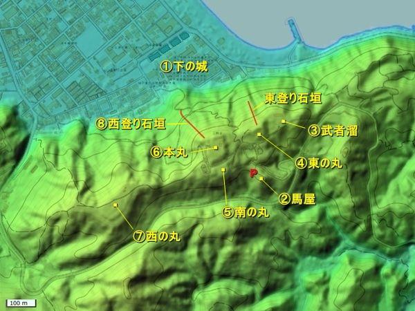 洲本城地形図