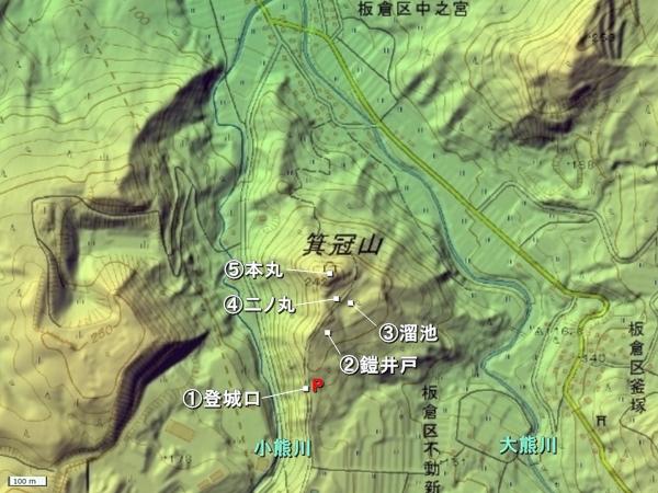 箕冠城地形図