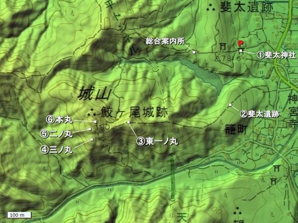 鮫ヶ尾城地形図