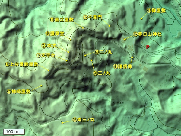 春日山城地形図