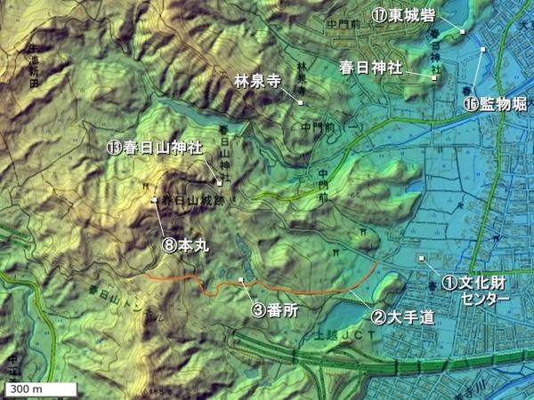 春日山城広域図