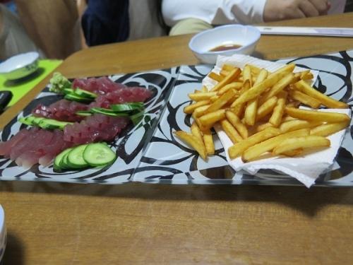 お刺身サラダ、天ぷら