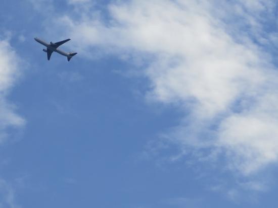 ディズニーシー上空の飛行機