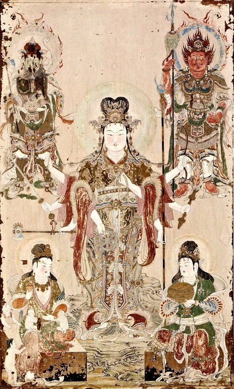 明治期に流出した吉祥天厨子の後壁・扉絵(東京芸術大学所蔵)~弁財天像