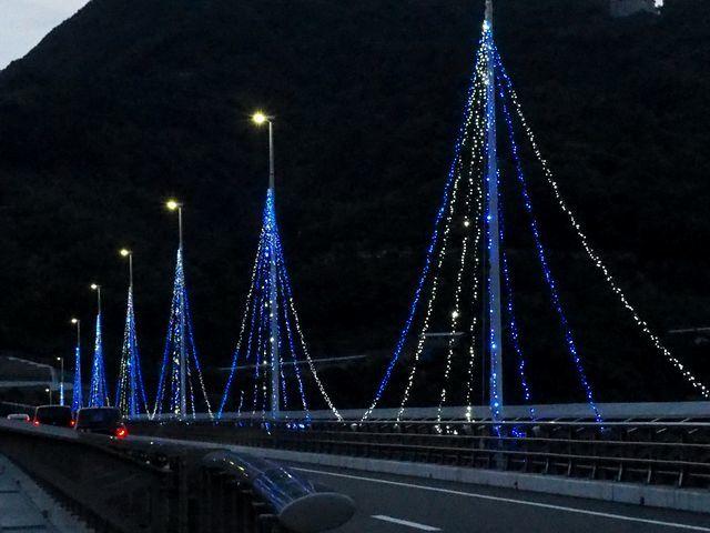 九島橋のライトアップH29.7.23