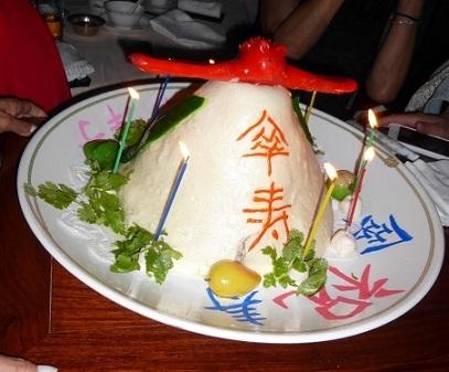 傘寿の桃ケーキ