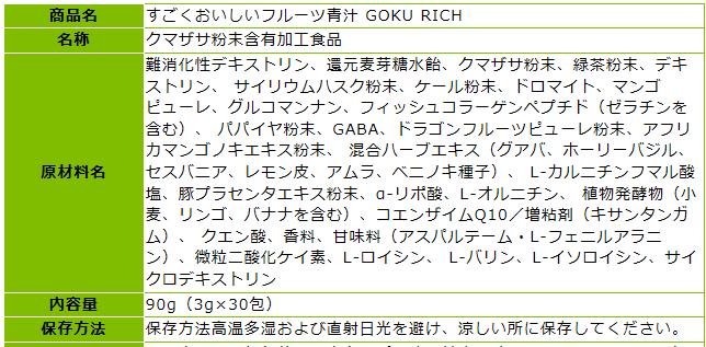 GOKURICH 全原料