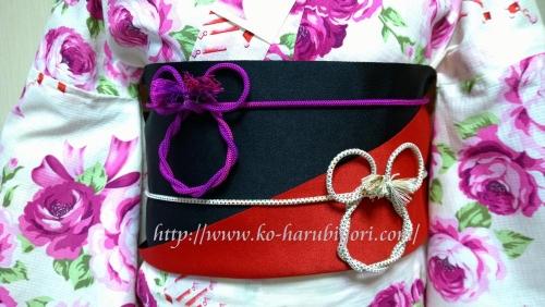 浴衣の創作帯結び●リボン結び(りぼん返し)から作る簡単な帯マウス(ミニーちゃん)の飾り紐(帯締め)マウス