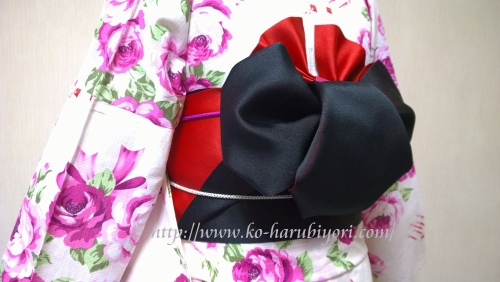 浴衣の創作帯結び●リボン結び(りぼん返し)から作る簡単な帯マウス(ミニーちゃん)