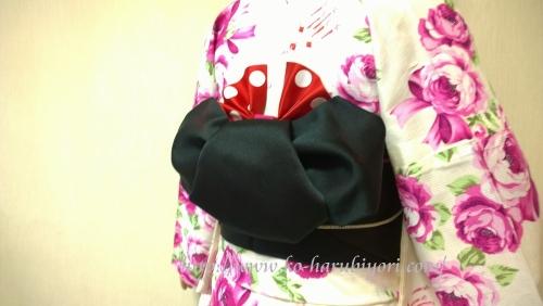 浴衣の創作帯結び●リボン結び(りぼん返し)から作る簡単な帯マウス(ミニーちゃん)●ドット柄のリボン