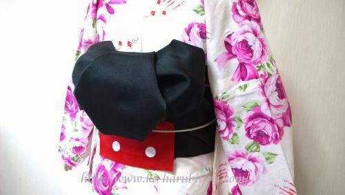 浴衣の創作帯結び●リボン結び(りぼん返し)から作る簡単な帯マウス(ミッキーマウス)~その2~