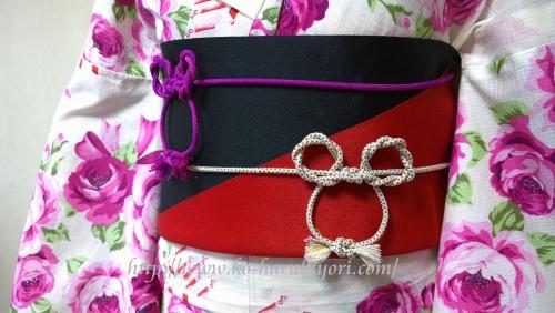 衣の創作帯結び●リボン結び(りぼん返し)から作る簡単な帯マウス●帯締めミッキーマウス