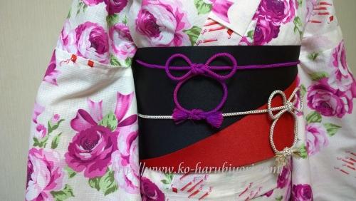 浴衣の創作帯結び●リボン結び(りぼん返し)から作る簡単な帯マウス●帯締めミッキーマウス2