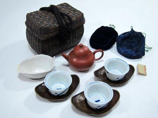 中国朱泥急須 孟臣 水平在印 煎茶道具揃 竹編煎茶籠