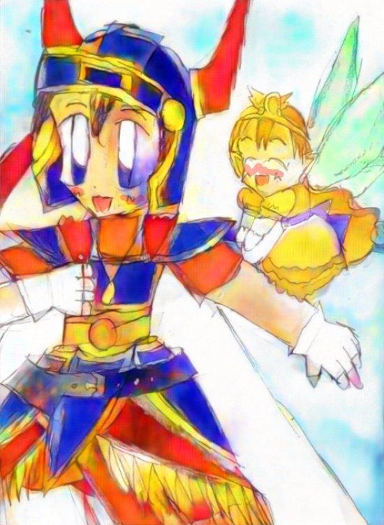 若じじい(!?)1勇者さんと妖精ローラ姫。