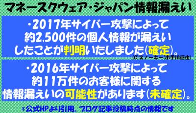 マネースクウェア・ジャパン情報漏えい詳細