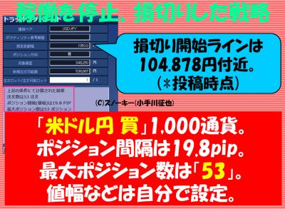 20170909トラッキングトレード検証米ドル円ロング停止