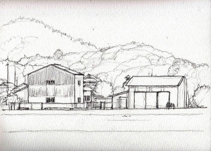亀岡の風景2 デッサン (700x502)