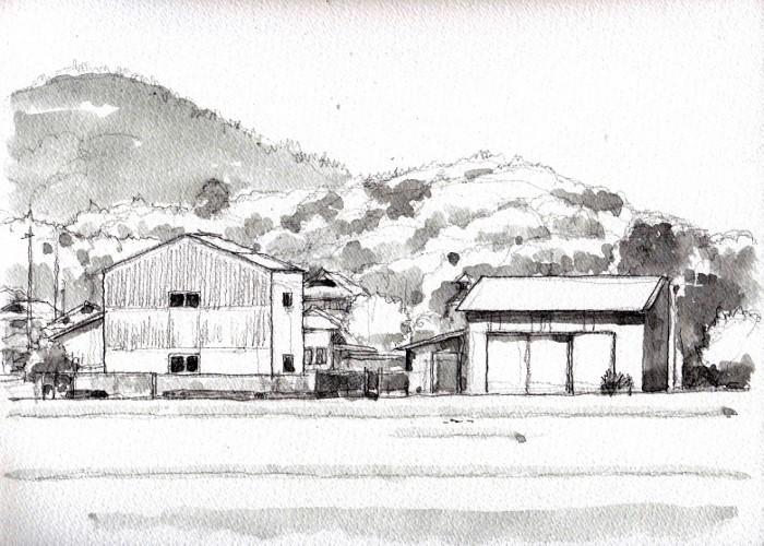 亀岡の風景2 グリザイユ (700x500)