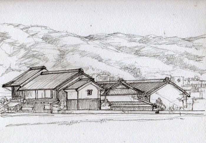 平城京より春日山方面 デッサン (700x487)