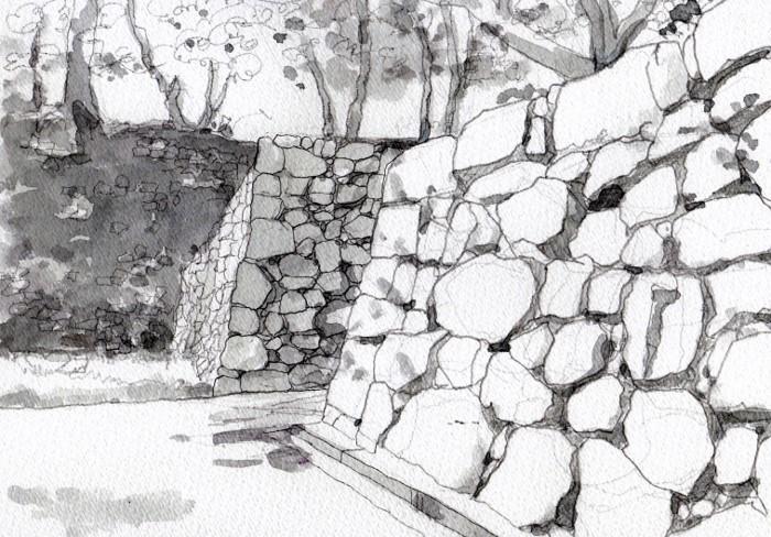 洲本城の石垣 グリザイユ (700x488)