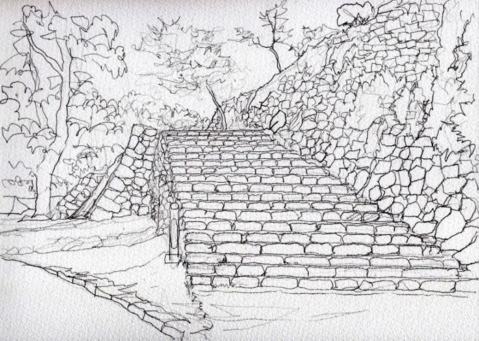 洲本城の石垣2 デッサン (700x498)