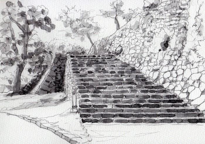 洲本城の石垣2 グリザイユ (700x492)