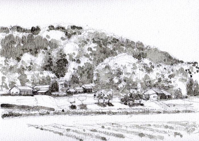 兵庫の里山2 グリザイユ (700x495)