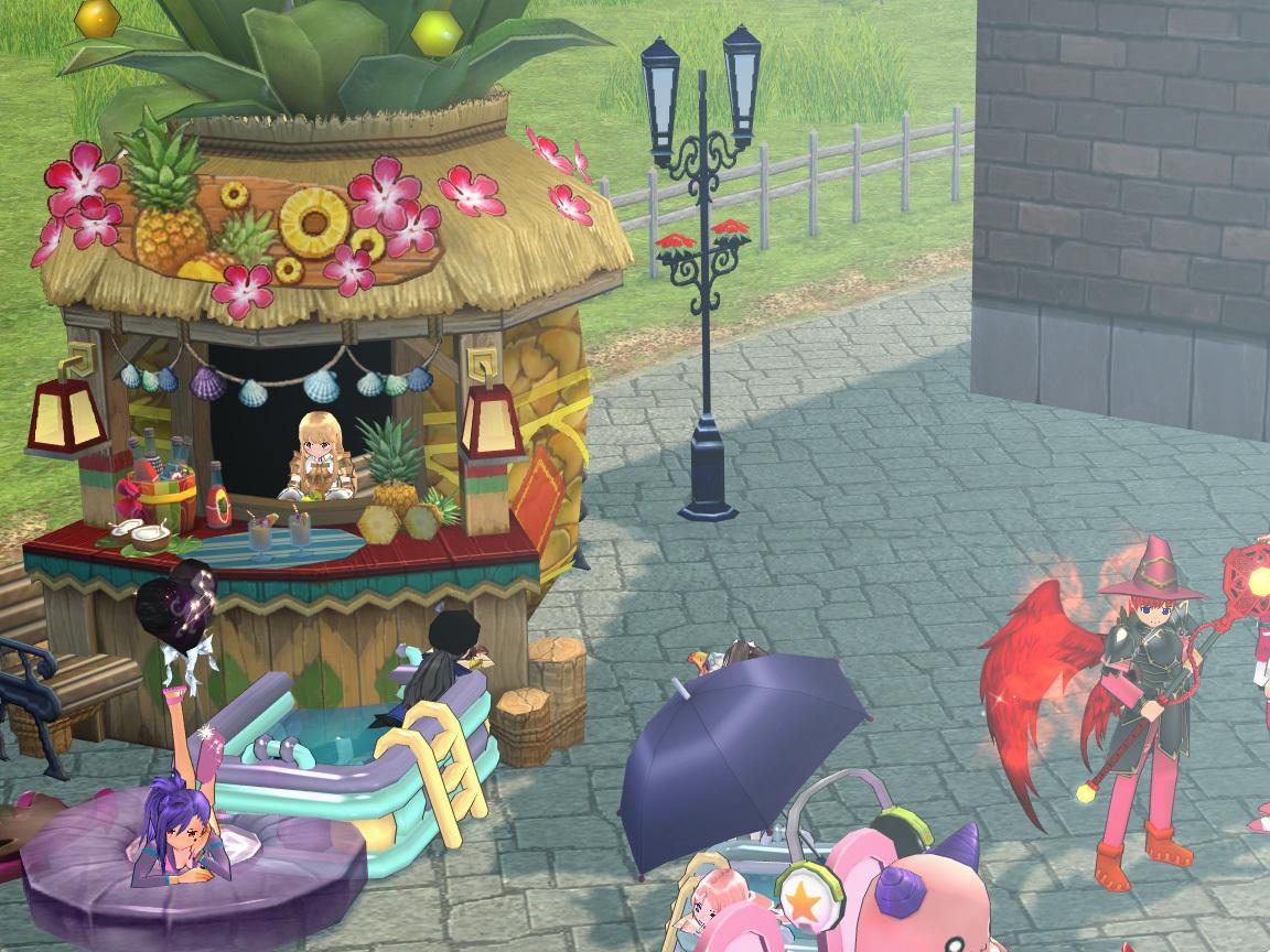 パイナップル店とプール