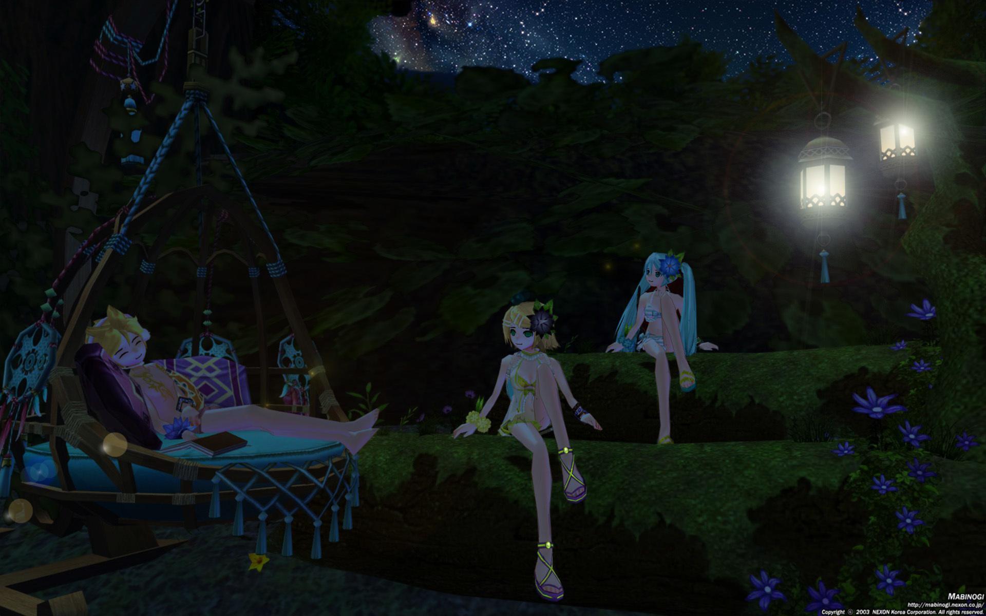カルーの森でミク、リン、レン3