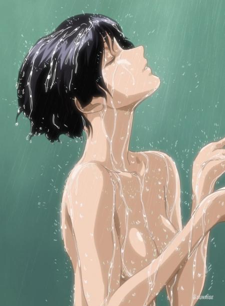ガンダムSEED HDリマスター版 ナタル・バジルールの胸裸ヌードシャワー入浴シーン30