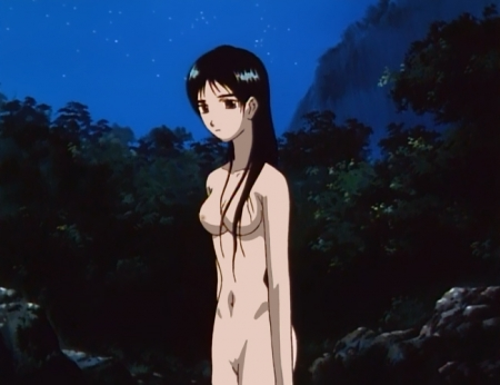 からくりの君 文渡蘭菊の全裸ヌード水浴び入浴シーン乳首13