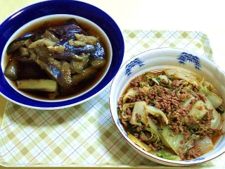 170711_4763 茄子の煮浸し・白菜と挽肉の炒め物VGA