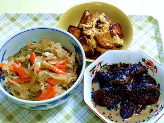 170721_4788 丸天と卵の炒め物・カレー丼・茄子の胡麻味噌和えVGA