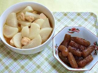 170804_4808 大根と鶏肉の煮物・『こんにゃく発表』の胡麻味噌炒めVGA