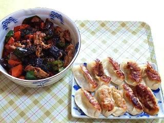 170804_4809 茄子と豚肉の甘味噌炒め・焼き餃子VGA