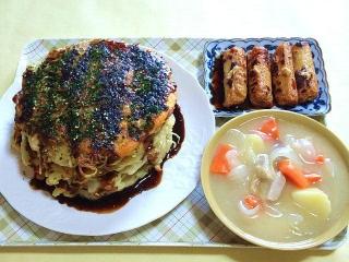 170811_4819 モダン焼き3段重ね・ゴボウ天の生姜醤油付け焼き・豚フィレのクリームシチューVGA