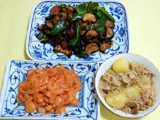 170919_4874 茄子とピーマンの肉味噌炒め・小エビと玉葱のチリケチャップ炒め・肉じゃがVGA