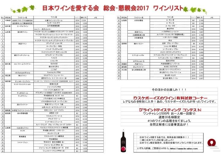 日本ワインを愛する会総会・懇親会 ワインリスト