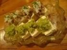 空豆と鮎のたたき豆腐乗せ
