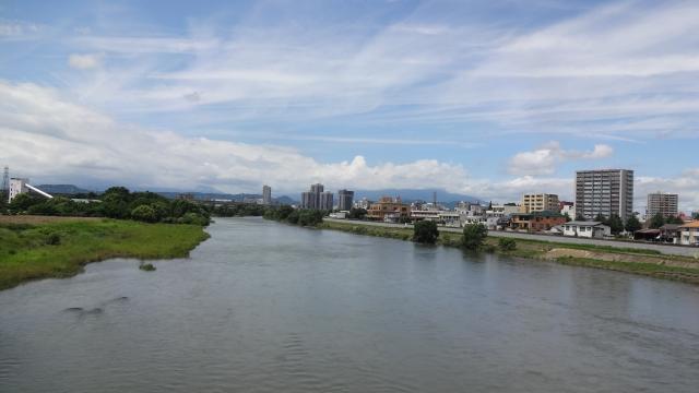 北上川と盛岡市街