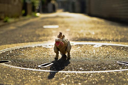 道路が日差しでキラキラしていてテンションが上っている、シン・ゴジラ第二形態、蒲田くん